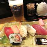 房寿司 - バルメニュー¥600(お寿司+グラスビール)