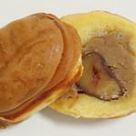 小布施栗菓製造 - 栗福(つなぎ目部分をカットした断面、2012年12月)