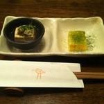 16466902 - お通し 湯豆腐とだし巻き