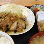 一喜 - 牛肉とナスの生姜焼き定食(750円)