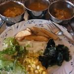 スーリヤ - ランチは食べ放題\900 カレーに加えサラダ・付け合せなども充実している