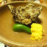 さわ栄 - 蒸し牡蠣、トウモロコシ、ピーマン