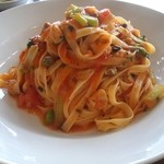 イタリア食堂 Mamma - ランチA バヴェッティーニ 真アジと緑野菜のトマトソース