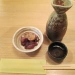 富梅 - 2012.12.24 熱燗、付き出汁 子持ちホタルイカ煮付け