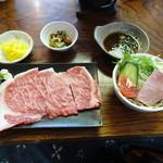 千里庵 - 特上近江牛陶板焼きステーキ定食