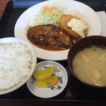 ルプラ - ハンバーグ定食:530円(ハンバーグ&クリームコロッケ)