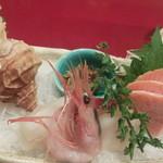 16540753 - つぶ貝、鮭(ルイベ)、など5点盛込み