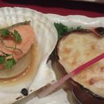 16540754 - 鮭ステーキ・蟹甲羅焼