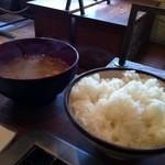もんじゃ焼き 芯 - セットのご飯とみそ汁