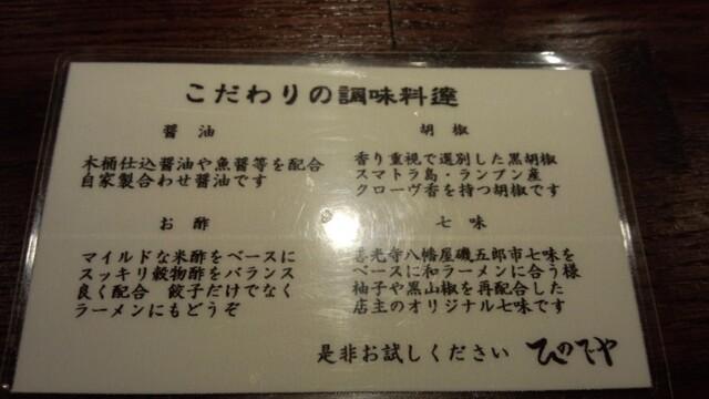 和風楽麺 四代目 ひのでや - 調味料のこだわり