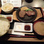 16554093 - 石焼ハーフステーキ&ハンバーグ定食
