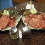 肉の森田屋 - 和牛あみ焼きコースのお肉(写真は2人前)