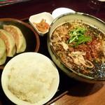 16567284 - 黒ごまタンタン麺(\750)+餃子3個・半ライスセット(\280)