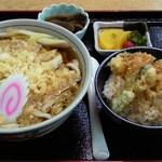 藤久 - 本日のランチ(たぬきうどん+ミニ天丼)780円