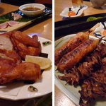 山参鶏肉店 - 料理写真:若鶏の唐揚げと串もの