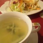 ネスパ - ランチについてくるスープとマカロニサラダ