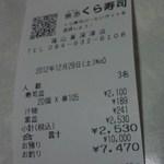無添くら寿司 - レシート(2012.12.29)