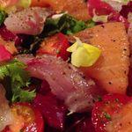 ラ ファーメ - 魚介のカルパッチョ(黒ソイ、イナダ、スモークサーモン)
