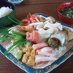 吉川鮮魚店 - 刺身盛り2,000円+ご飯、あおさ汁300円