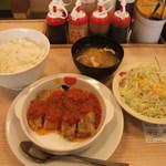 松屋 - チキントマトガーリック定食(ライス大盛)