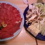 讃岐 うどんの樋 - 夜の宴会、牛しゃぶ!美味いし安い店長に相談して3000円で飲み放題店長に感謝!