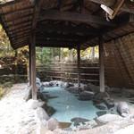 平山温泉 やまと旅館 - 混浴の露天、左の浅いところは湯温がぬるめです。