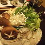 平山温泉 やまと旅館 - 豆乳鍋の具材です。