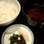 日本料理雲海 - 止椀・御飯・香物。