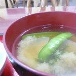 みなと食堂 - プレートの味噌汁