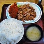 キッチンオトボケ - ジャンジャン焼定食¥600+チキンカツ¥150