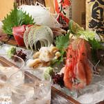 酒菜と炭 てりや - 料理写真:お刺身の盛り合わせとお飲物