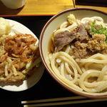 16664883 - 肉ぶっかけ(大)とかき揚げ&ゆで卵の天ぷら。ボリューム満点!