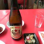 山城 - 再訪、此方の瓶ビールはサッポロラガー赤星ですよ♪