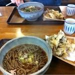 16672515 - かけそばと舞茸の天ぷら  奥は天ぷらと山菜そば