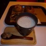 16687809 - パンと黒糖きなこ豆乳