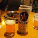 やきとり君 - ビールは500mlの缶ビール