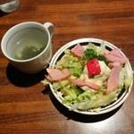 かぼす - セットのスープとサラダ