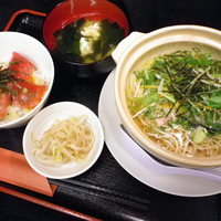 のんしゃらん食堂 - 京風野菜煮めん&ミニまぐろ丼セット