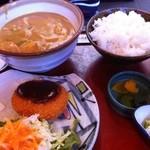 手打めん処 三朝 - カレーうどん定食