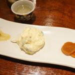 あげづき - キュウリのごま油和え、ポテサラ、大根の漬物(2012/11)