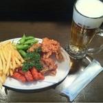 立呑み厨房 いち - 2013.1.9 えべっさんセット1000円。       1人じゃボリューム有りすぎ、複数でたのんでね。生ビールは400円のえべっさん価格。