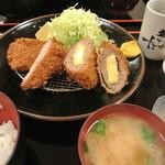 とんかつ高山 - チーズ入りメンチ・ヒレ定食 \1050
