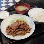 あらき - サービスメニュー『生姜焼肉定食』500円。