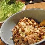 Yamaのuchi - 挽肉納豆炒めレタス包み