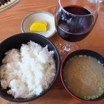 三次ワイナリー - 広島和牛Bコース ライスと三次ワイン赤