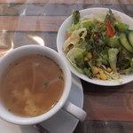 キリン堂  - 平日ランチ コンソメスープとサラダ