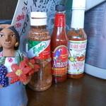 レポサド - 辛いソース、左から米ヒューストン産、コロンビア産、ベリーズ産