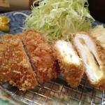 はな桃 - 2013.01 本日の定食(一口ヒレ4切れとチーズチキンカツ2切れ)
