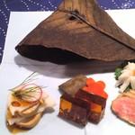 16813075 - 鯖幽庵焼き? あん肝、フグ煮凝り、鴨