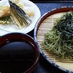 黒船屋 - 茶蕎麦 天麩羅付き  ¥1000